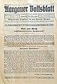 Aargauer Volksblatt, Titelblatt der ersten Ausgabe vom 16. Dezember 1911.jpg