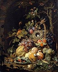 Abraham Mignon - A bird's nest in a fruit basket.jpg