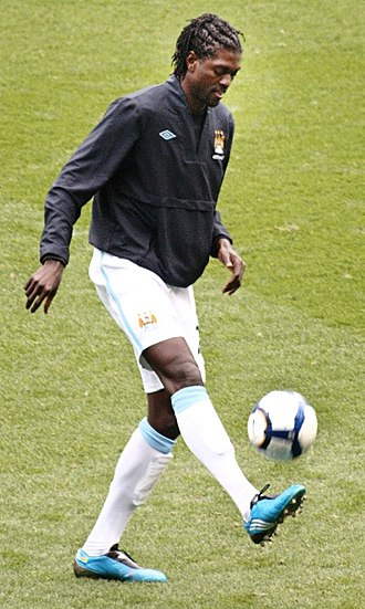 Emmanuel Adebayor - Adebayor in Manchester City colours.