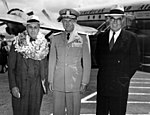 Adm. Arthur W. Radford greets unidentified guests for ANZUS Council.jpg