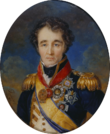 Oval painting of a hatless man with curly hair and thick eyebrows. He wears a blue naval uniform with a white waistcoat, gold sash and epualettes, and a number of decorations.
