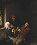 Adriaen van Ostade - Interior of a Peasant's Cottage with a Child about to be Fed - 1651.jpg