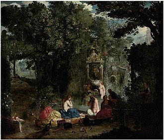 Adriaen van Stalbemt - Classical landscape with nymphs bathing in a grotto