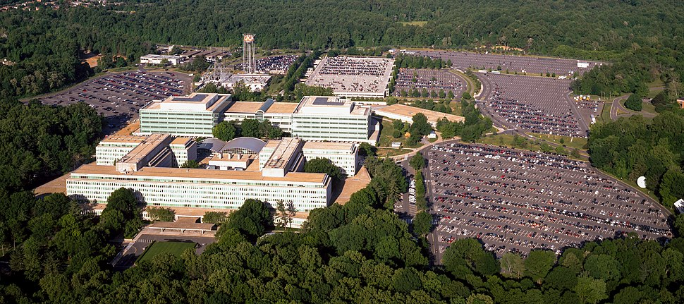 Aerial view of the Central Intelligence Agency headquarters, Langley, Virginia - Corrected and Cropped
