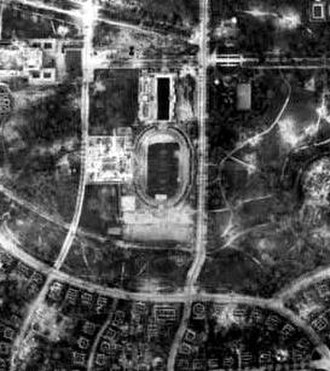 Stadion Dresden - The bombed stadium in 1945.