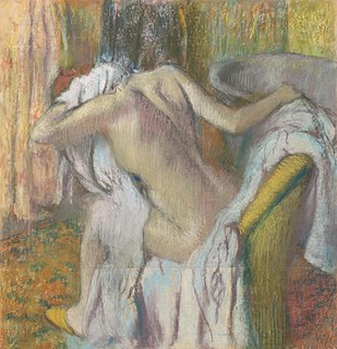 <i>After the Bath, Woman Drying Herself</i> pastel painting by Edgar Degas