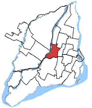 Ahuntsic (electoral district) - Ahuntsic in relation to other Quebec federal electoral districts (2003 boundaries)