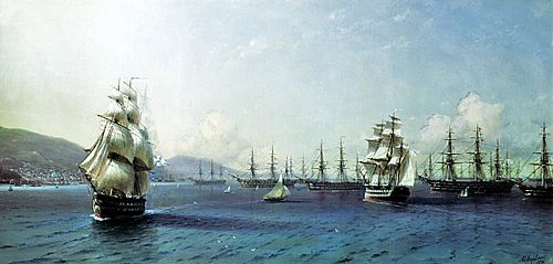 Ivan Aivazovsky. Black Sea Fleet in the Bay of Theodosia, just before the Crimean War Aivazovsky - Black Sea Fleet in the Bay of Theodosia.jpg