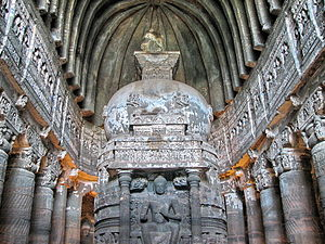 Ekavyāvahārika - Cave temple associated with the Mahāsāṃghika sect. Ajaṇṭā Caves, Mahārāṣtra, India