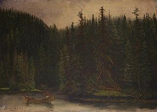 Indian Hunters in Canoe