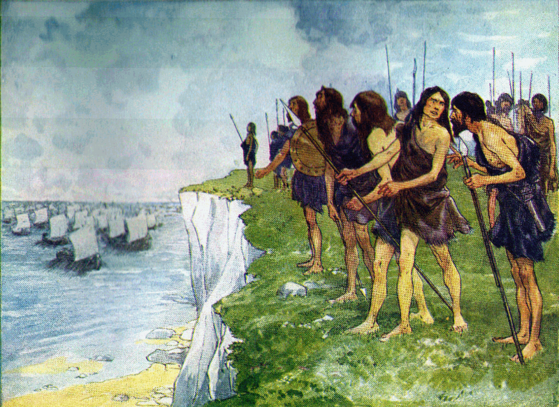 Albion's shore covered with men ready for battle.png