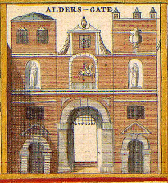 Aldersgate - An old illustration of the gate, c. 1650.