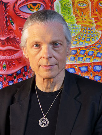 Alex Grey - Grey in front of his painting, Net of Being, 2013