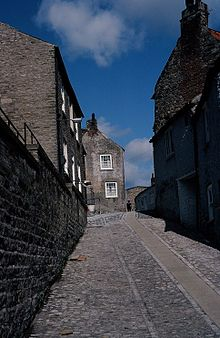 Stone street going up a hill