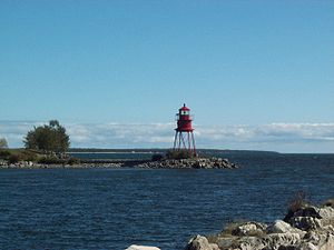The lighthouse located in Alpena Michigan