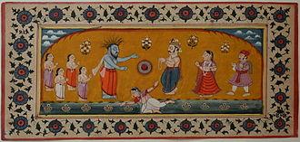 Durvasa - The Sudarshana Chakra(centre) between Durvasa(immediate left) and Ambarisha(immediate right).
