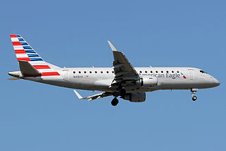Republic Airline - A Republic Airline Embraer 175 operating for American Eagle landing at Newark Liberty International Airport in New Jersey.