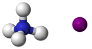 ball-and-stick model of an ammonium cation (left) and an iodide anion (right)