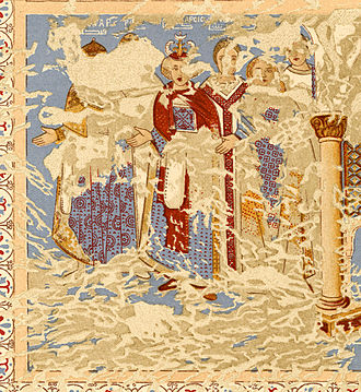 "Roderic - Roderic depicted as one of the ""six kings"" in an Umayyad fresco in Qasr Amra, modern-day Jordan, from between 710 and 750. Roderic is the second figure, his face completely lost, with only the tip of his helmet and his robes being visible."