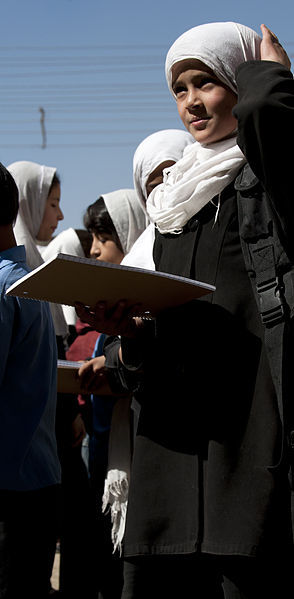 File:An Afghan school girl heads back to class after receiving school supplies from ANCOP members (5063724581).jpg