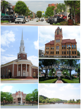 Top, left to right: Downtown Anderson, First Baptist Church of Anderson, Old Anderson County Courthouse, Anderson University, Anderson County Courthouse and Confederate Monument, Lake Hartwell view from City of Anderson Recreation Park