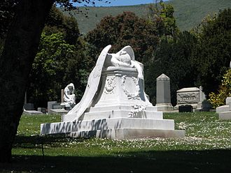 Cypress Lawn Memorial Park - Jennie Roosevelt Pool memorial marked with the Angel of Grief