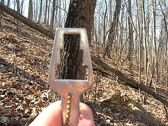 Angle gauge - Angle gauge indicating a tree to measure for a basal area factor of 10