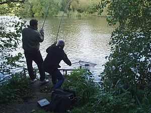 English: Angling on Bay Pond. Bay Pond was bui...