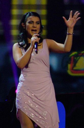 """The Image of You - Anjeza Shahini performing """"The Image of You"""" at the semi-final."""