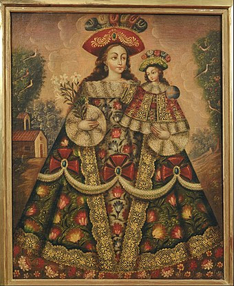 The Virgin of the Pilgrims and Child, Anonymous Colonial Cusco School painting, 18th century Anonymous, Cuzco School, Peru - The Virgin of the Pilgrims and Child - Google Art Project.jpg