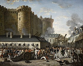 The storming of the Bastille. Riots of people are outside of a castle.