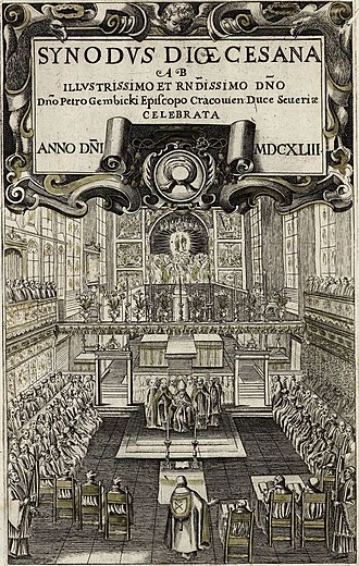 Synod - Diocesan synod in Kraków in 1643 presided by Bishop Piotr Gembicki