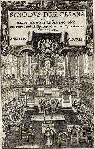Synod - Diocesan synod in Kraków in 1643 presided by Bishop Piotr Gembicki