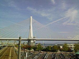 Aomori Bay Bridge - The Aomori Bay Bridge viewed from Aomori Station