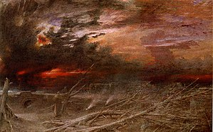 Apocalyptic and post-apocalyptic fiction - The apocalypse is also depicted in visual art, for example in Albert Goodwin's painting Apocalypse (1903).