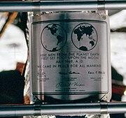 Apollo 11 plaque closeup on Moon
