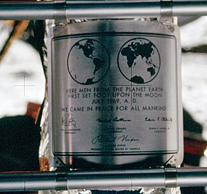 Tranquility Base - Plaque left at Tranquility Base (on the LM Descent Stage) commemorating the first manned lunar landing, photographed by Neil Armstrong