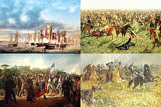 Cisplatine War - From top left: Battle of Juncal, Battle of Sarandí, Oath of the Thirty-Three Orientals, Battle of Ituzaingó