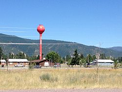 Red water tower in Arlee, Montana