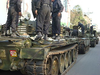 Bangladesh Rifles revolt - An array of tanks waiting beside Abahani ground on 26 February 2009