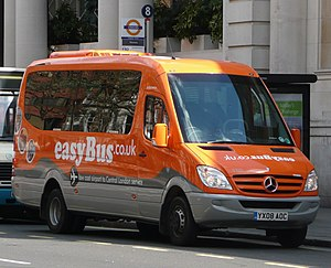 New Enterprise Coaches - easyBus liveried Optare Soroco bodied Mercedes-Benz Sprinter at London Victoria in April 2008
