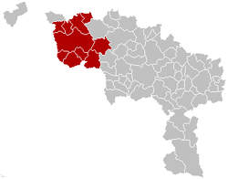 Location of the arrondissement in Hainaut
