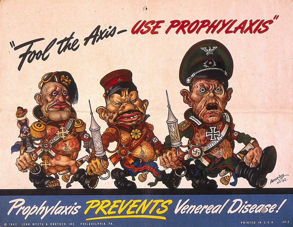 Arthur Szyk (1894-1951). Fool the Axis Use Prophylaxis poster (1942), Philadelphia