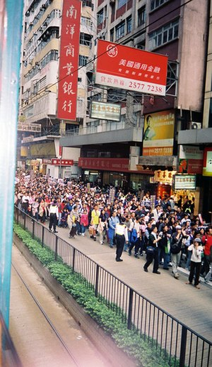Regina Ip - Protests march against Article 23 in 2003