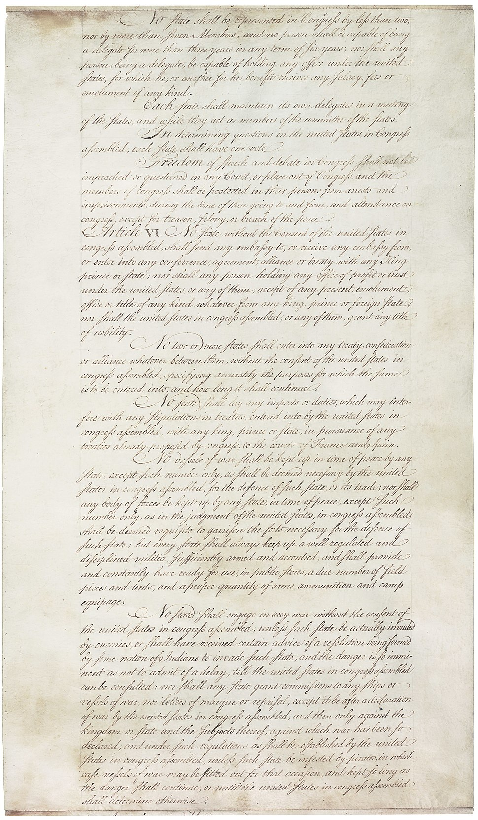 the articles of confederation called for which of the following