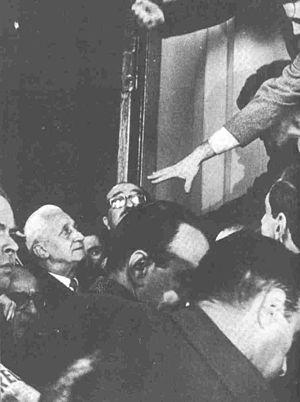Arturo Umberto Illia - Pres. Illia (left) is escorted out of the Casa Rosada by supporters during the 1966 coup. There was reason to believe his life was in danger.
