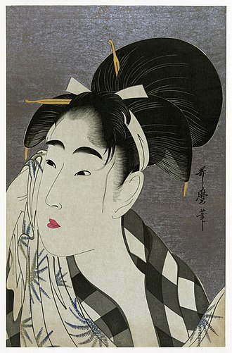 Utamaro - Ase o fuku onna (Woman Wiping Sweat), Ukiyo-e, 1798