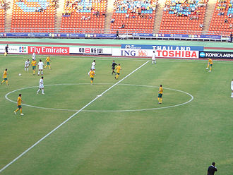 Iraq national football team - Iraq playing against Australia in Group A of the 2007 AFC Asian Cup; Iraq won the game 3–1 on their way to winning the cup.