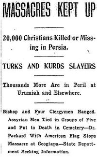 a contemporary report of the 1914-18 genocide in The Washington Post
