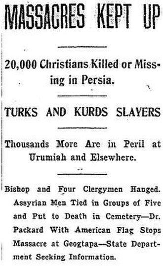 Assyrian genocide - A report published in the Washington Times on March 26, 1915.